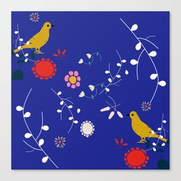 Bird and blossom electric blue Canvas Print