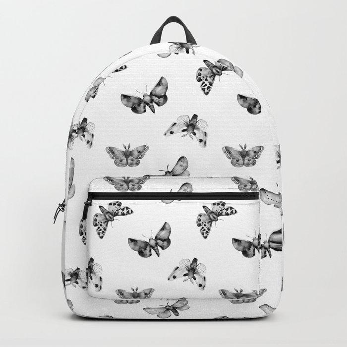 Autumn Night Moth White Pattern Backpack