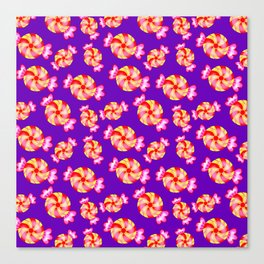 Cute lovely sweet festive decorative candy pattern on purple background. Candy store. Canvas Print