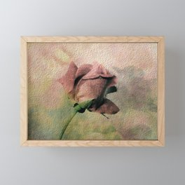 Painterly Pink Rose Bud Framed Mini Art Print