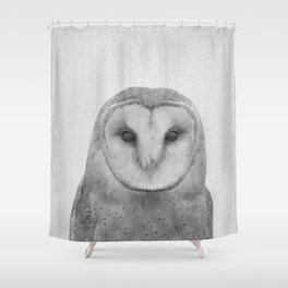 Owl - Black & White Shower Curtain