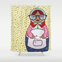 russian Shower Curtains featuring RUSSIAN DOLL  by KARO illustrations