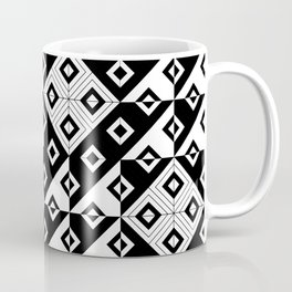 Diagonal squares in black and white Coffee Mug