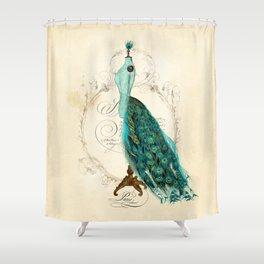 Peacock bustle mannequin Shower Curtain