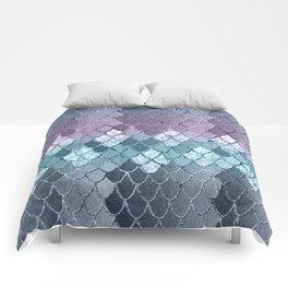 Mermaid Scales Navy Blue Teal Purple Glam #1 #shiny #decor #art #society6 Comforters
