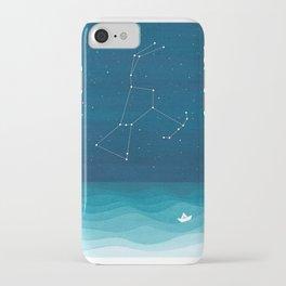Orion Constellation, teal ocean sailboat illustration iPhone Case