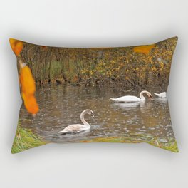 Amazing Elegant Group Of Swan Swimming In Pond Ultra HD Rectangular Pillow