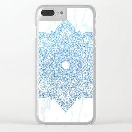 Blue flower mandala - marble Clear iPhone Case