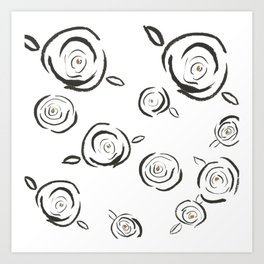 Flying Roses Art Print
