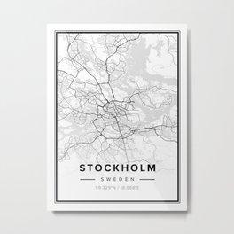 Stockholm Modern Map Metal Print