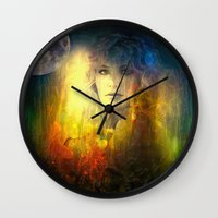 "sandra dieckmann Wall Clocks featuring "" Sandra ""  by shiva camille"