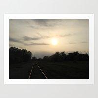 Rails And Fields Art Print