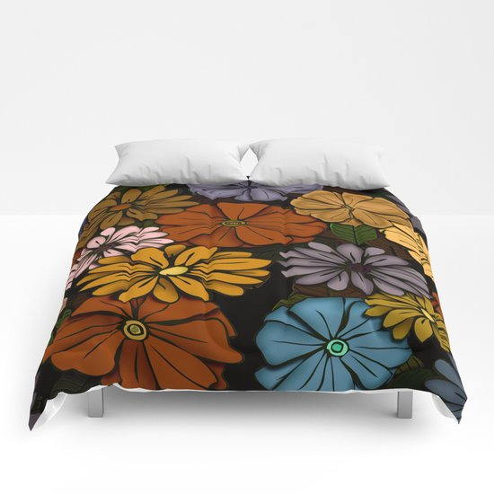 Abstract #418 Flower Power #6 Comforters