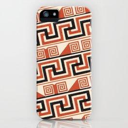 Vintage Tribal Pattern in Bold Orange, Black and Tan iPhone Case