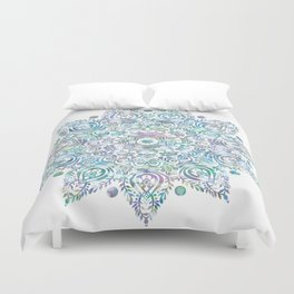 Mermaid Dreams Mandala on White Duvet Cover