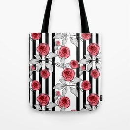 Red roses on black and white striped background. Tote Bag