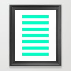 Mint White Stripes Framed Art Print