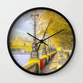 River Thames Path Watercolour Wall Clock