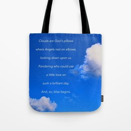 """""""Clouds #57"""" with poem: God's Pillows Tote Bag"""