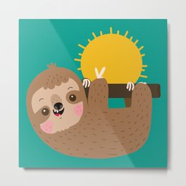 Happy Sloth Metal Print