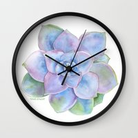 succulent Wall Clocks featuring Succulent by Susan Windsor