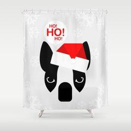 Santa Boston Terrier Shower Curtain