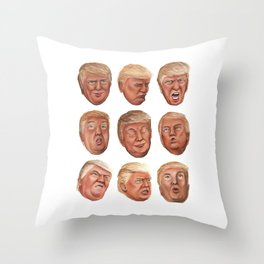 Faces Of Donald Trump Throw Pillow