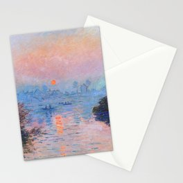Claude Monet - Sunset On The Seine At Lavacourt Winter Effect Stationery Cards