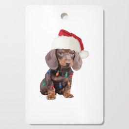 Dachshund Santa Hat Christmas Lights Dog Lovers Cutting Board