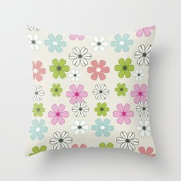 Graphic flowers: Oxonian flowers Throw Pillow