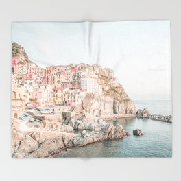 Positano, Italy Amalfi coast pink-peach-white travel photography in hd Throw Blanket