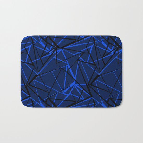 Abstract Black and blue geometric pattern . Bath Mat