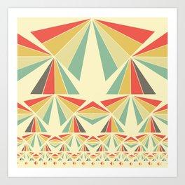 Op art triangle pattern, vintage colours Art Print