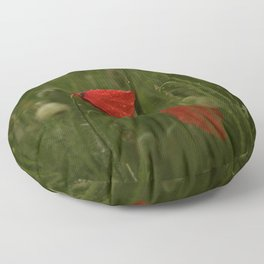 Red Poppies at Dusk Floor Pillow