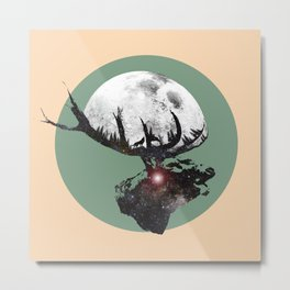 Majestic Space Elk Metal Print