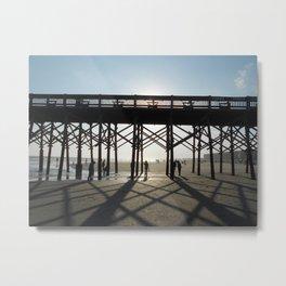 Folly Beach Pier Shadows Metal Print