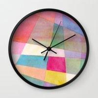 grid Wall Clocks featuring Grid by Dreamy Me