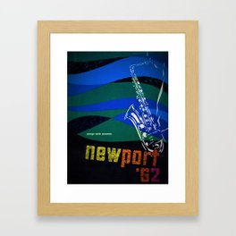1962 Newport Jazz Festival Vintage Advertisement Poster Newport, Rhode Island Framed Art Print