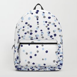 Floating Dots - Gray and Blues on White Backpack