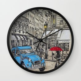 blue citroen Wall Clock