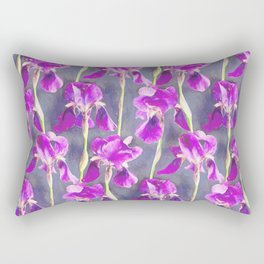 Simple Iris Pattern in Warm Magenta Rectangular Pillow