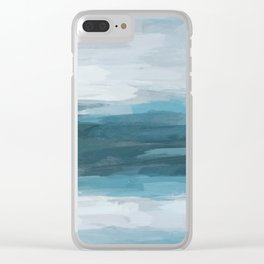 Teal Ocean Blue Gray Abstract Nature Art Painting Clear iPhone Case