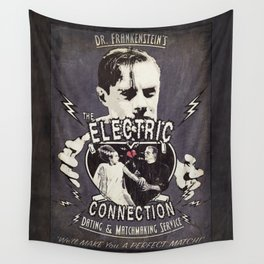 Dr. Frankenstein's The Electric Connection: Dating & Matchmaking Service- Old Metal Sign Wall Tapestry