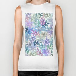 watercolor Botanical garden Biker Tank