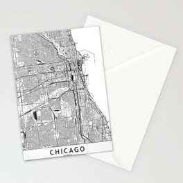 Chicago White Map Stationery Cards