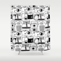 cameras Shower Curtains featuring Vintage Cameras by maceymack
