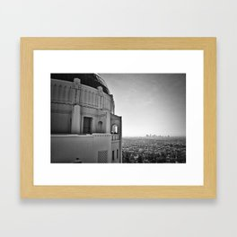 Griffith Park Observatory And Downtown Los Angeles Framed Art Print