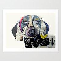 dachshund Art Prints featuring dachshund  by bri.buckley