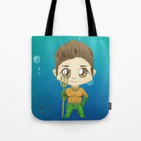 stiles Tote Bags featuring Aqua Stiles by dephigravity