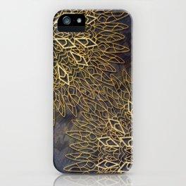 Gold Mandalas on Violet Background iPhone Case